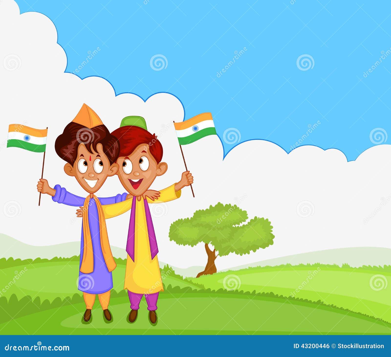 Download Indisk Pojke Som Hissar Flaggan Av Indien Vektor Illustrationer - Illustration av nationalism, vän: 43200446