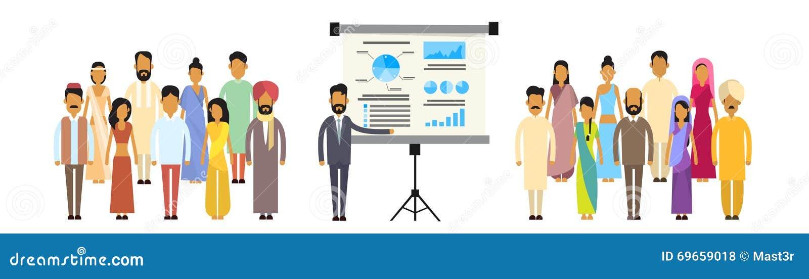 Indisk presentation Flip Chart Finance, Indien Businesspeople Team Training Conference Meeting för grupp för affärsfolk