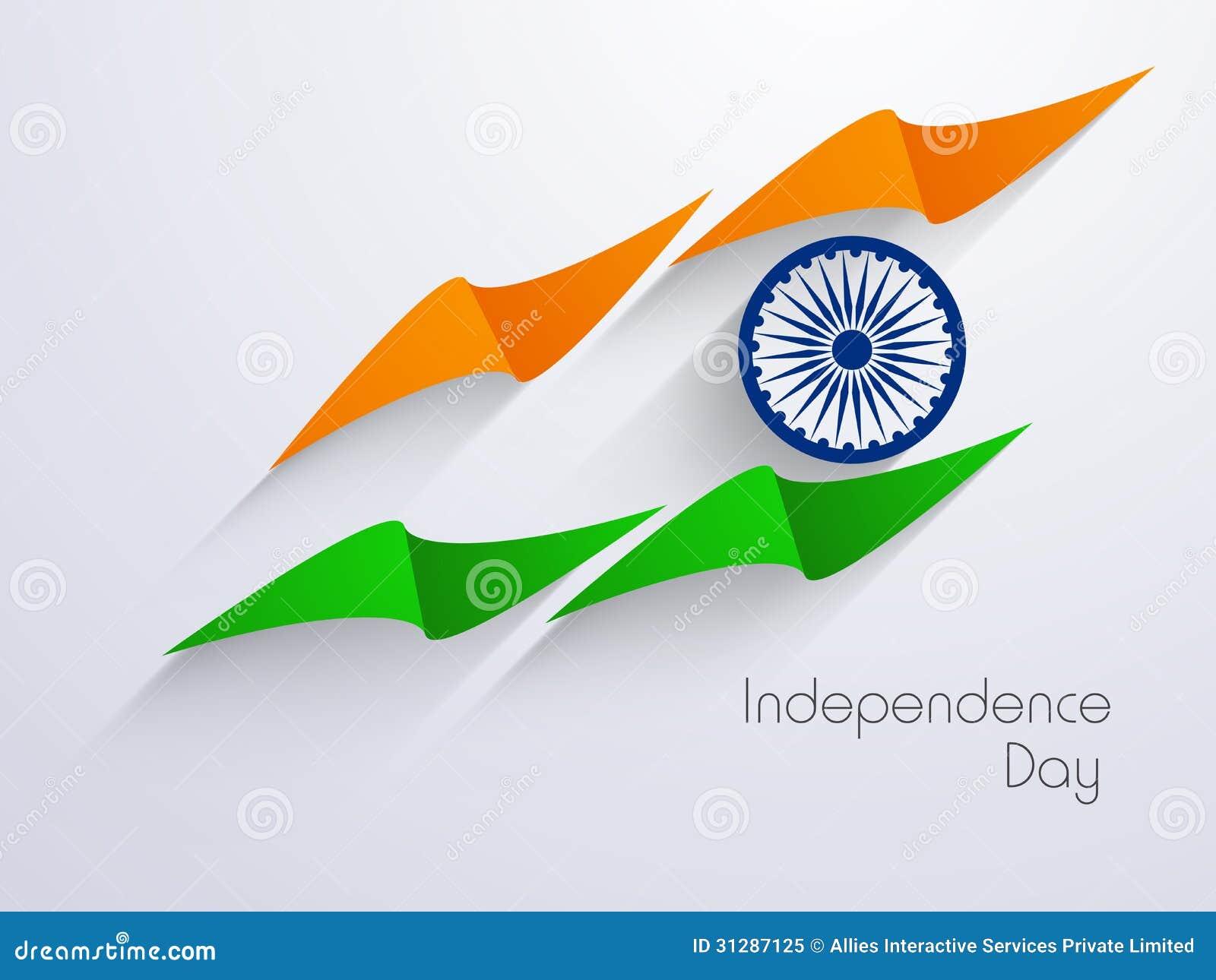 Indisk självständighetsdagenbakgrund med idérik nationsflagga D