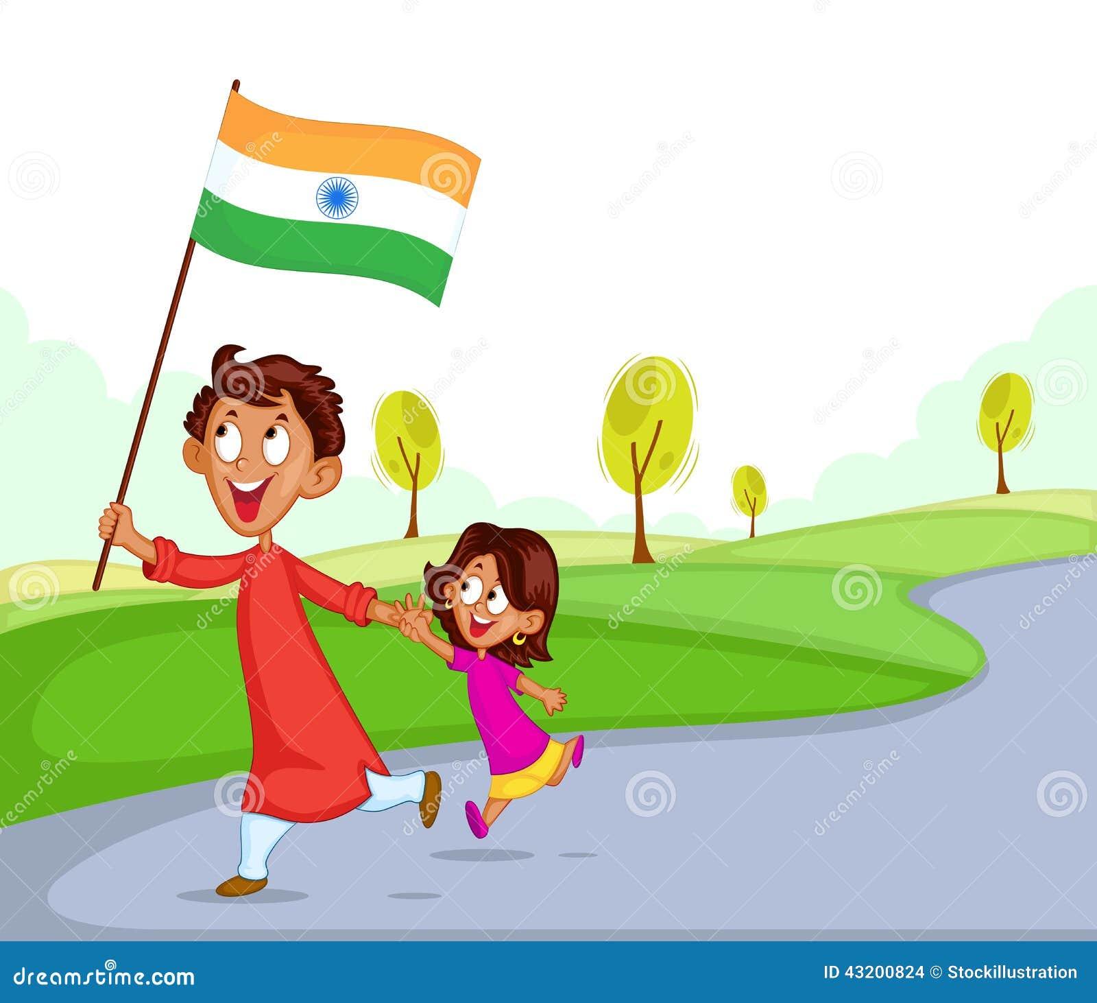 Download Indisk Syskongrupp Med Flaggan Av Indien Vektor Illustrationer - Illustration av unge, självständighet: 43200824