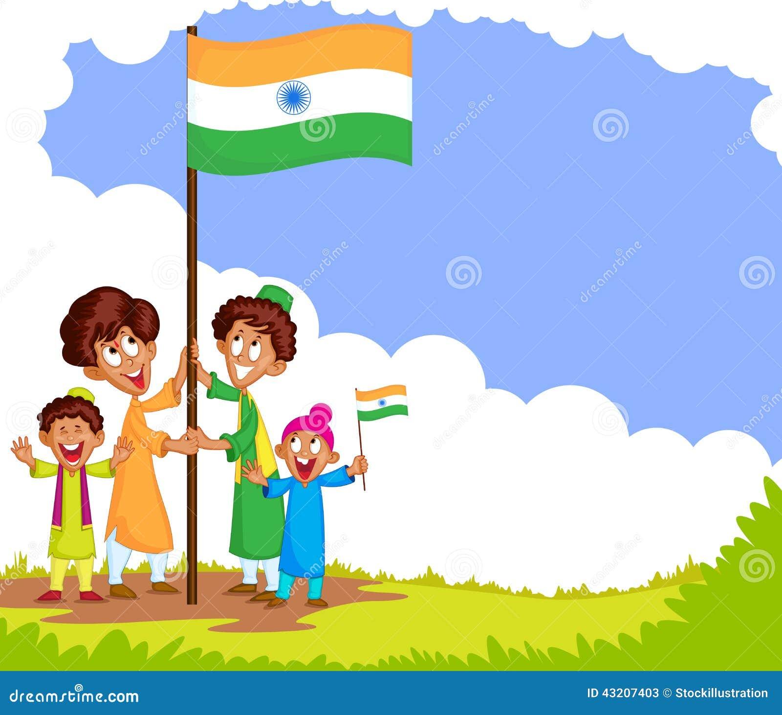 Download Indisk Unge Som Hissar Flaggan Av Indien Vektor Illustrationer - Illustration av muslim, indier: 43207403