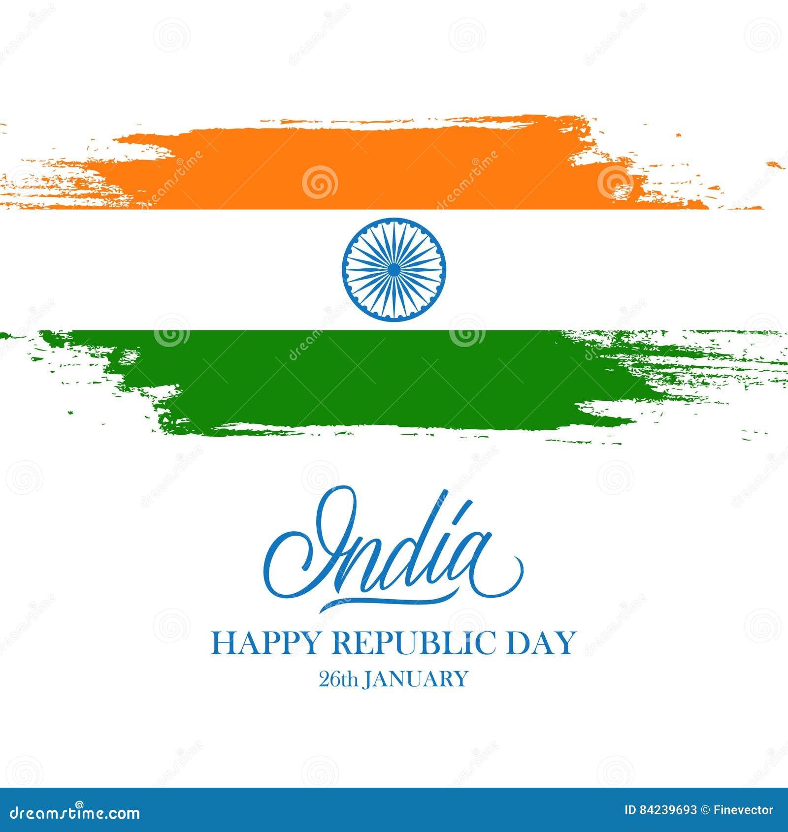 Indiskt Lyckligt Kort For Republikdaghalsning Med Det Handskrivna