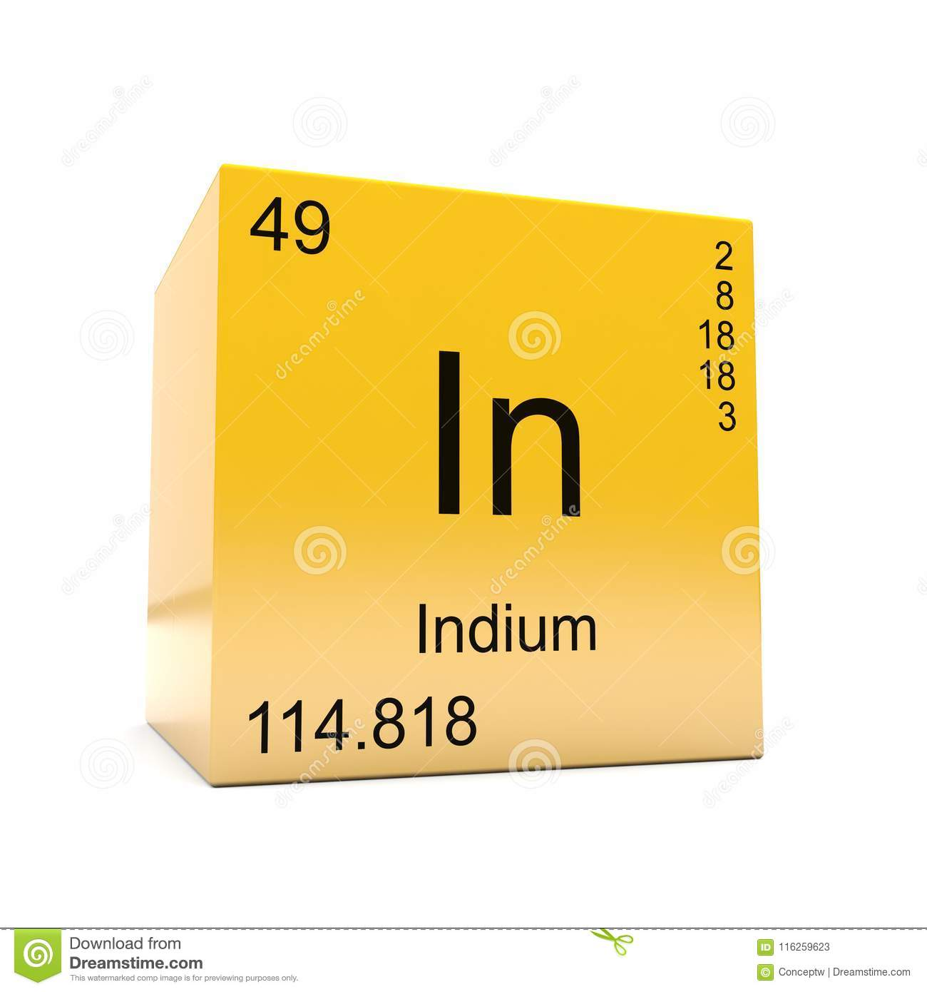 Indium Chemical Element Symbol From Periodic Table Stock