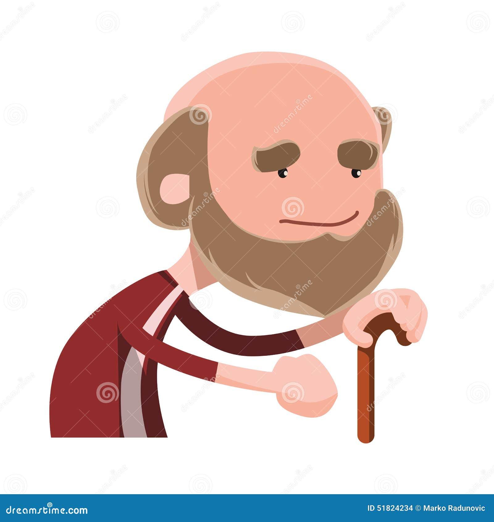 Indivíduo idoso que guarda o personagem de banda desenhada da ilustração da vara de passeio