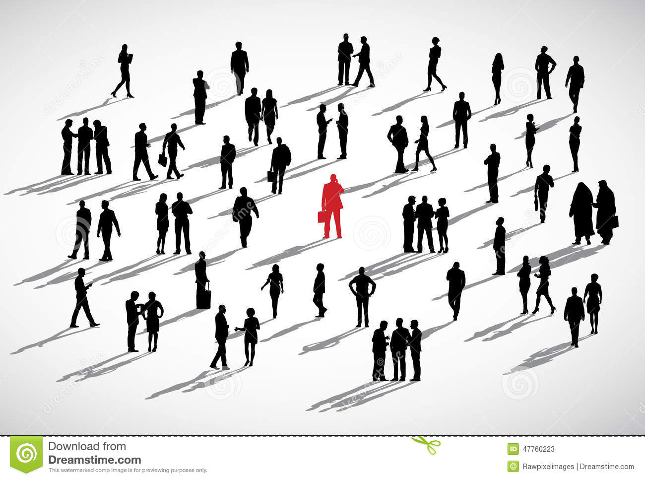 Individual Businessman Standing Crowd Business Concept