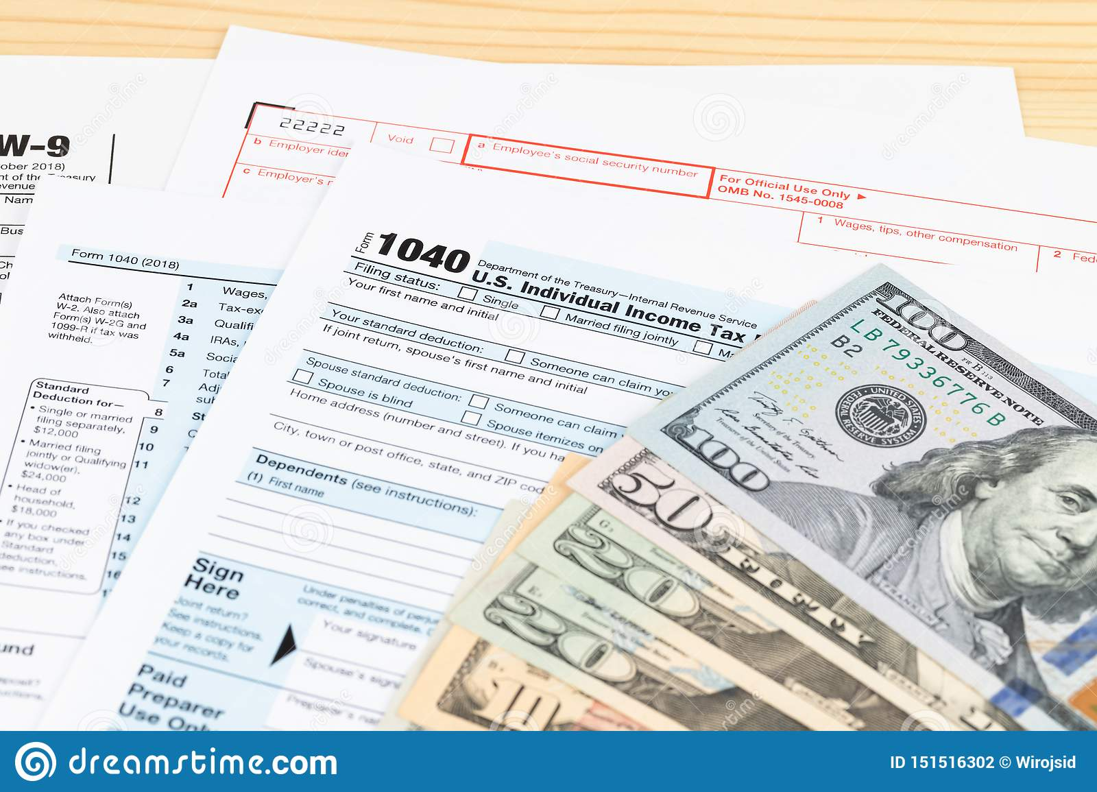 Individual income tax return form by IRS, concept for taxation