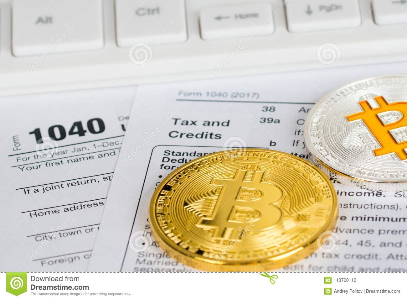 Tax return form 1040 with bitcoin and litecoin