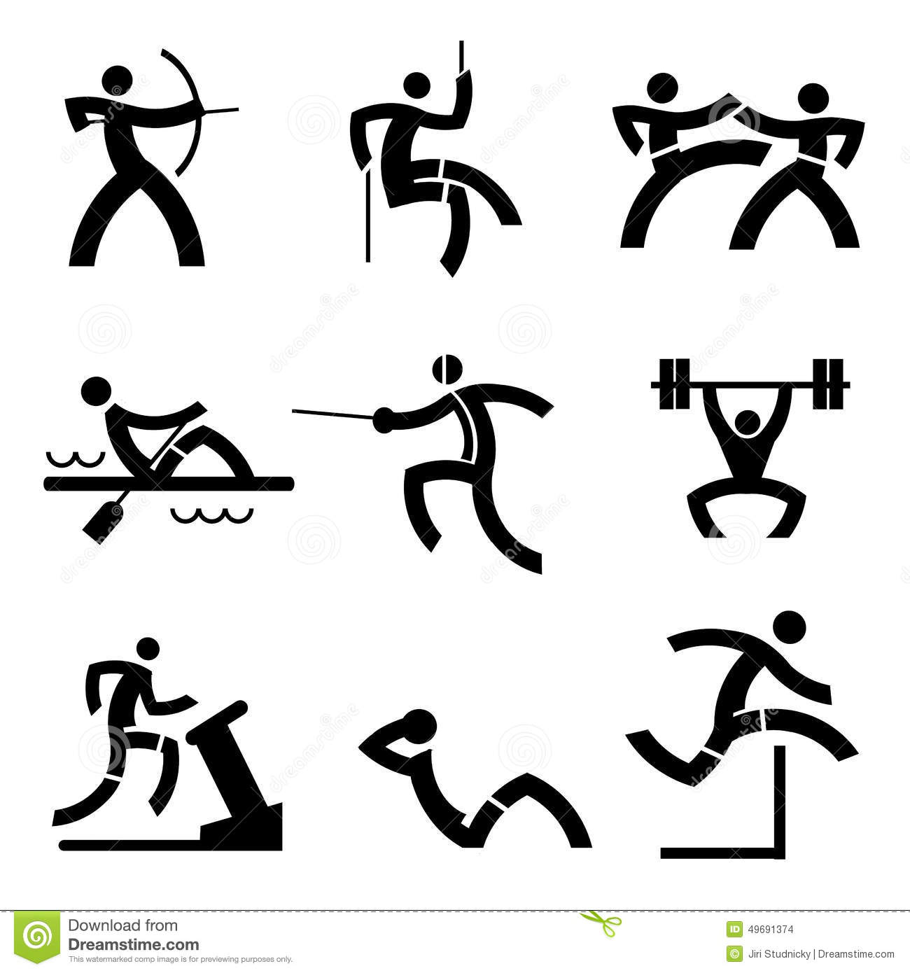 Black icons with sport and fitness activities. Vector illustration.