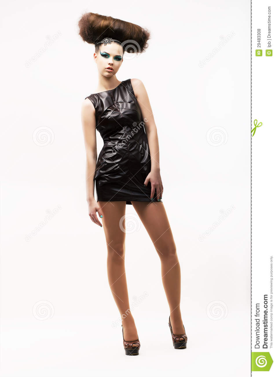 Individuality Exquisite Modern Woman Standing In Black Trendy Dress Fashion Style Stock Photo