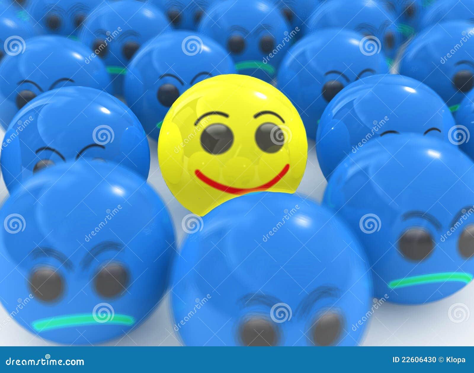 Individuele gele glimlach