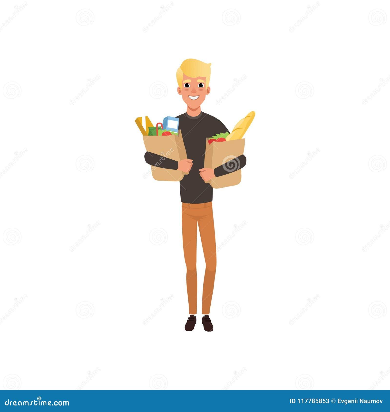 Individuo rubio joven que sostiene dos bolsas de papel con los productos El hacer compras en el colmado o el supermercado Diseño