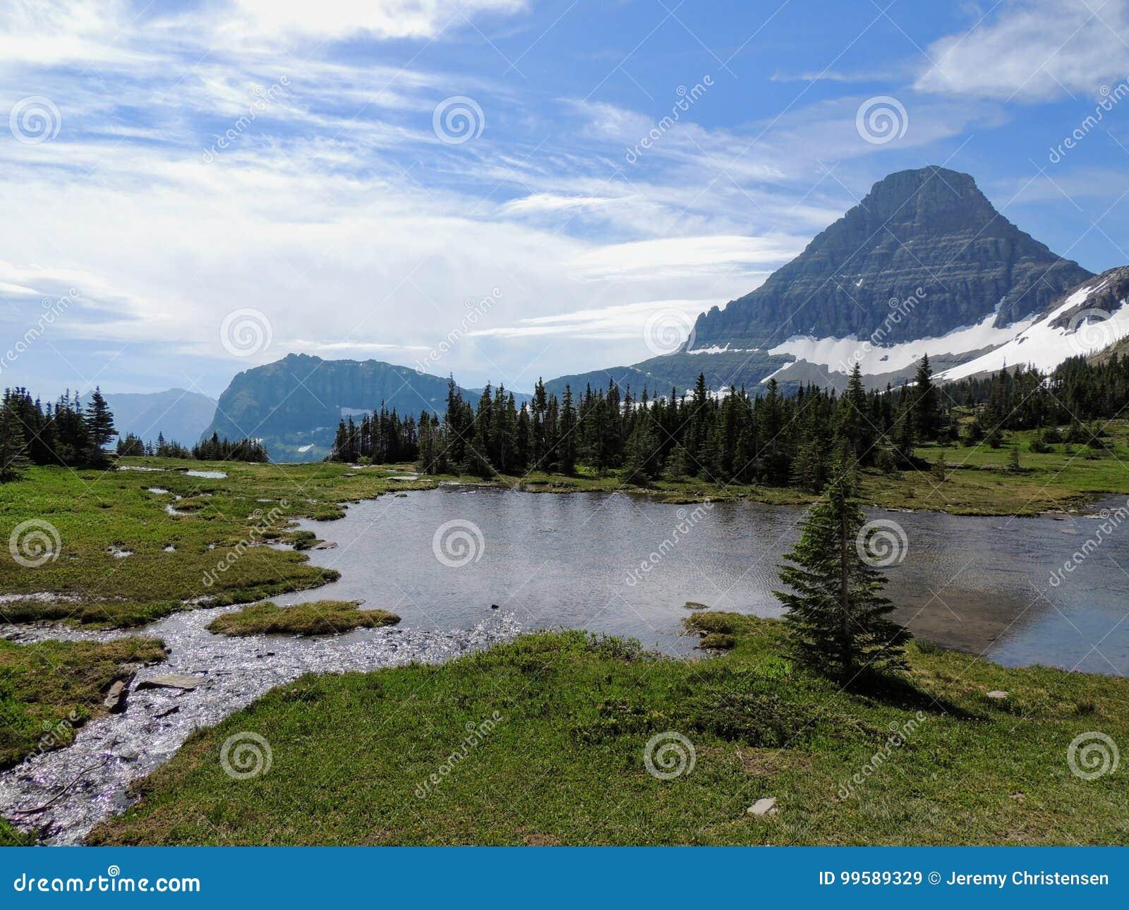 Indo à estrada de Sun, ideia da paisagem, campos de neve no parque nacional de geleira em torno de Logan Pass, lago escondido, fu