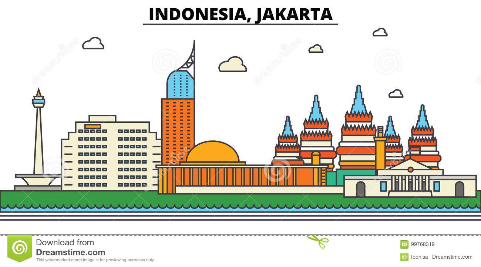 Indonesië, Djakarta De architectuur van de stadshorizon editable