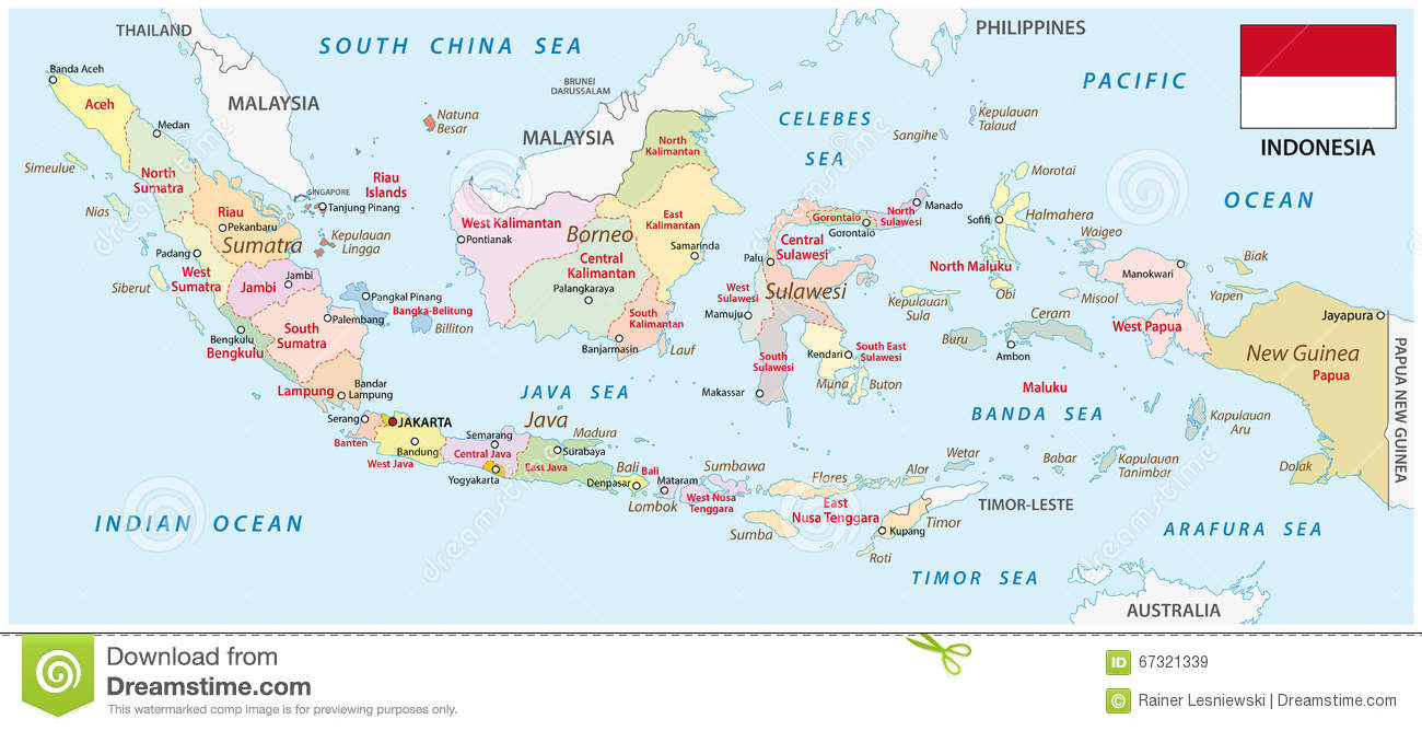 Indonesia Administrative Map With Flag Stock Illustration Image - Indonesia political map