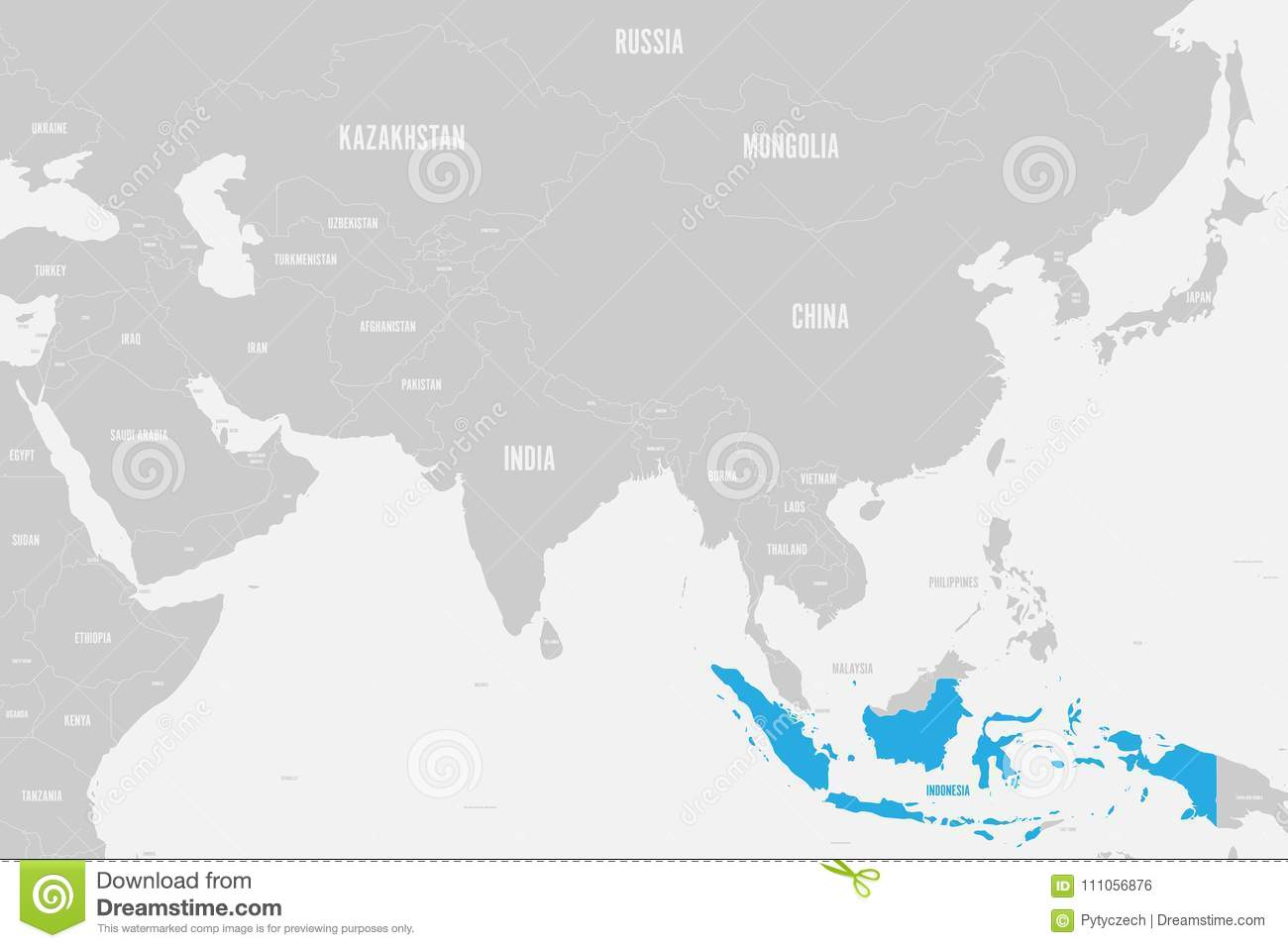 Map Of Asia Indonesia.Indonesia Blue Marked In Political Map Of Southern Asia Vector