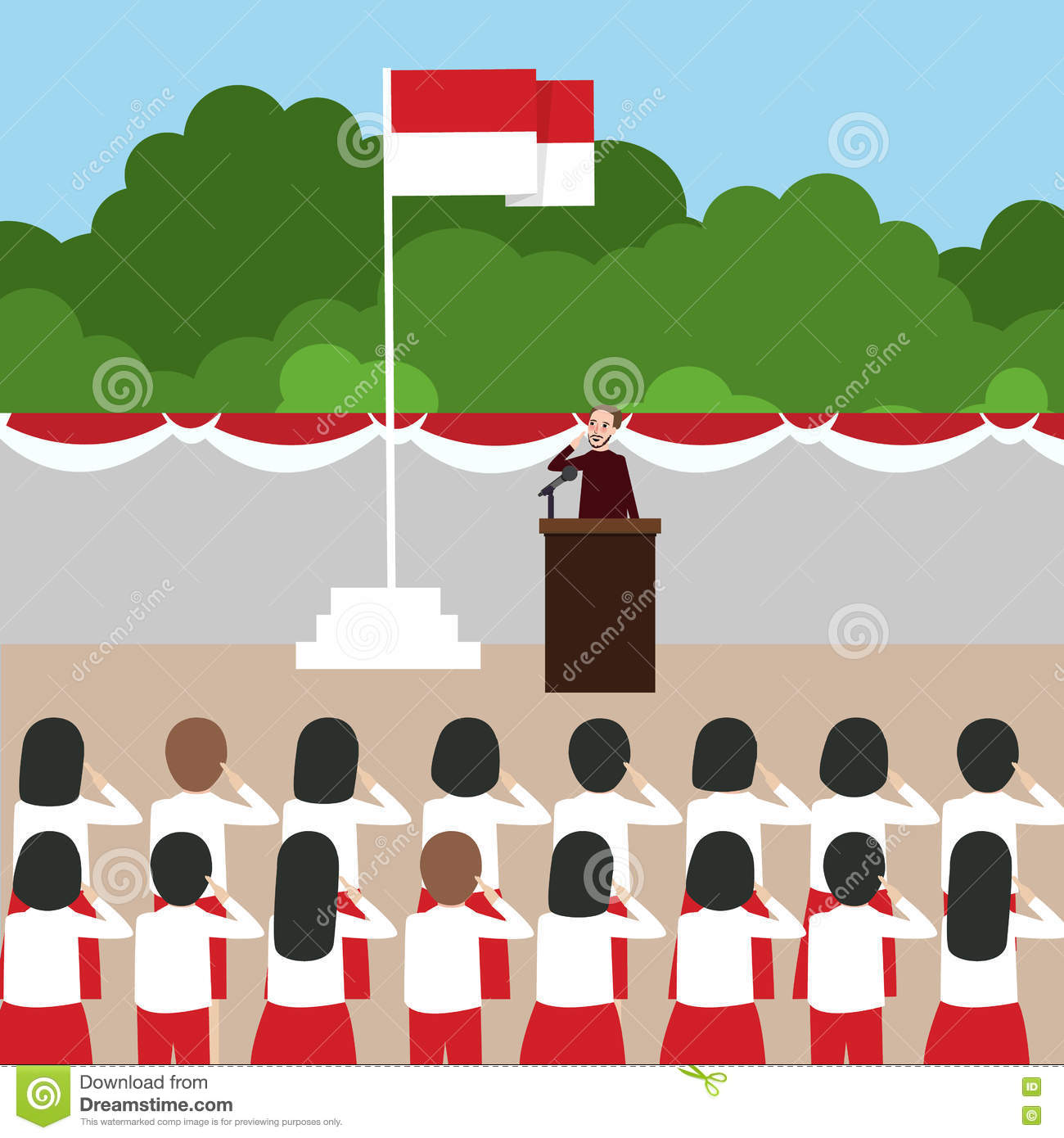 Indonesia flag ceremony school kids during national