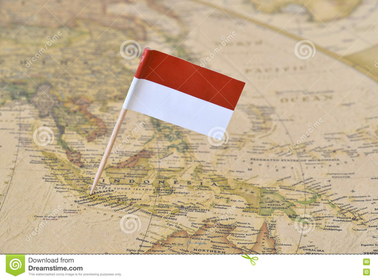 Indonesia flag pin on map