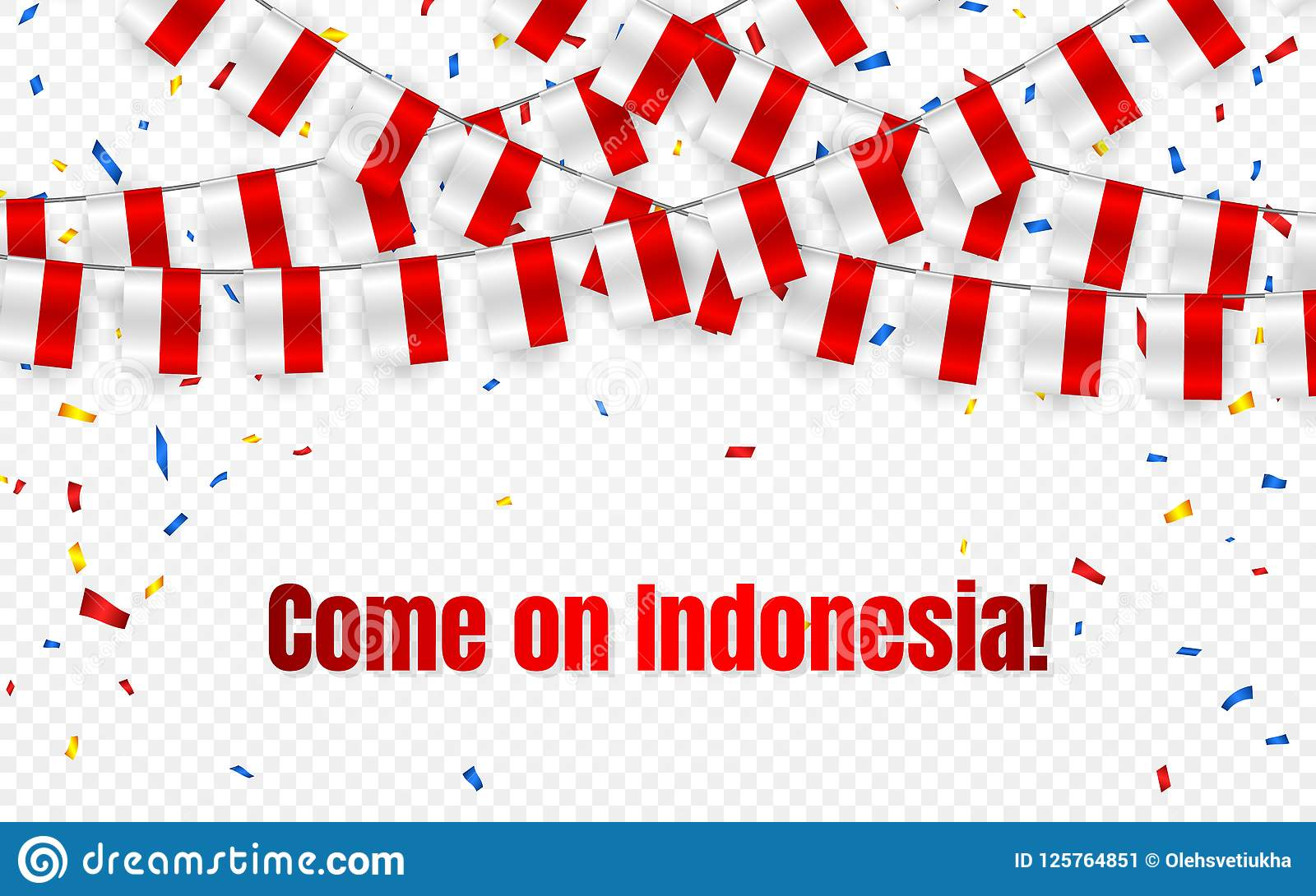 Indonesia garland flag with confetti on transparent background, Hang bunting for celebration template banner, Vector illustration
