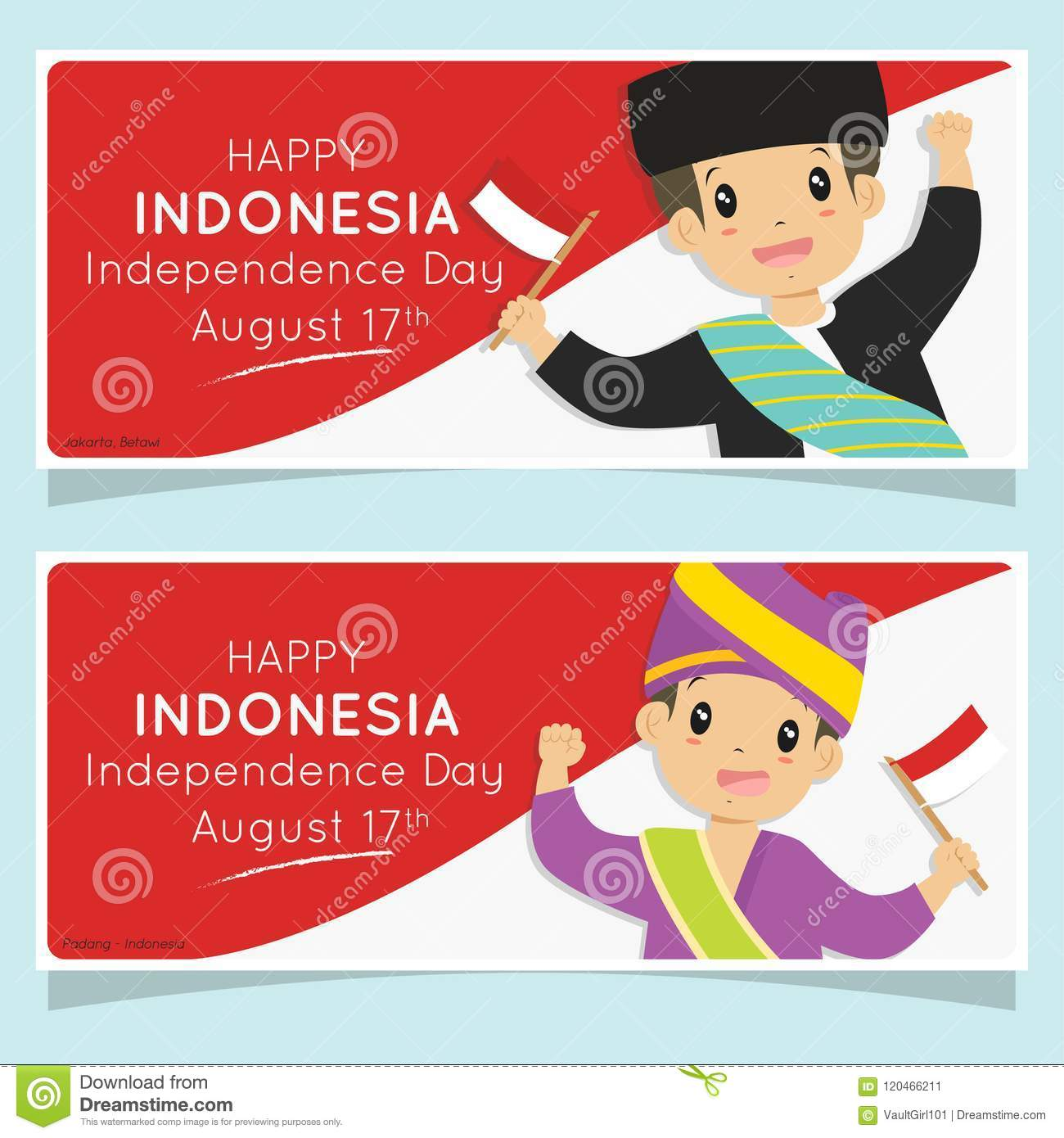 Indonesia Independence Day Banner Padang And Betawi Boys Holding