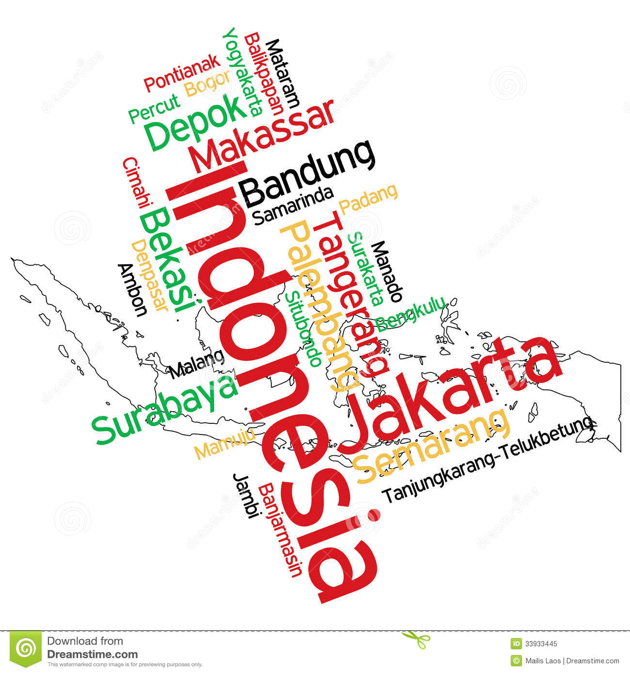 Indonesia Map And Cities Royalty Free Stock Photo - Image: 33933445