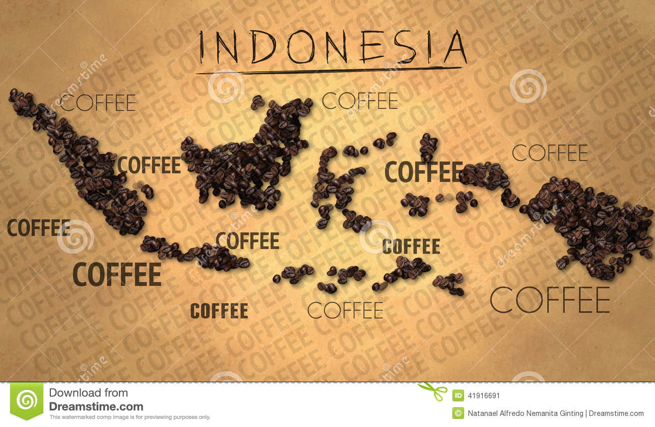 Indonesia map Coffee Bean producer on Old