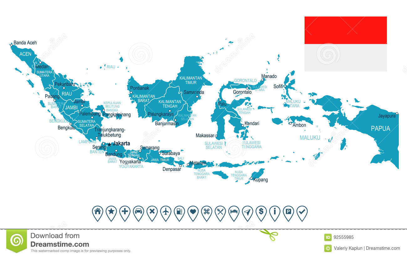 Indonesia map and flag illustration stock illustration download comp gumiabroncs Gallery