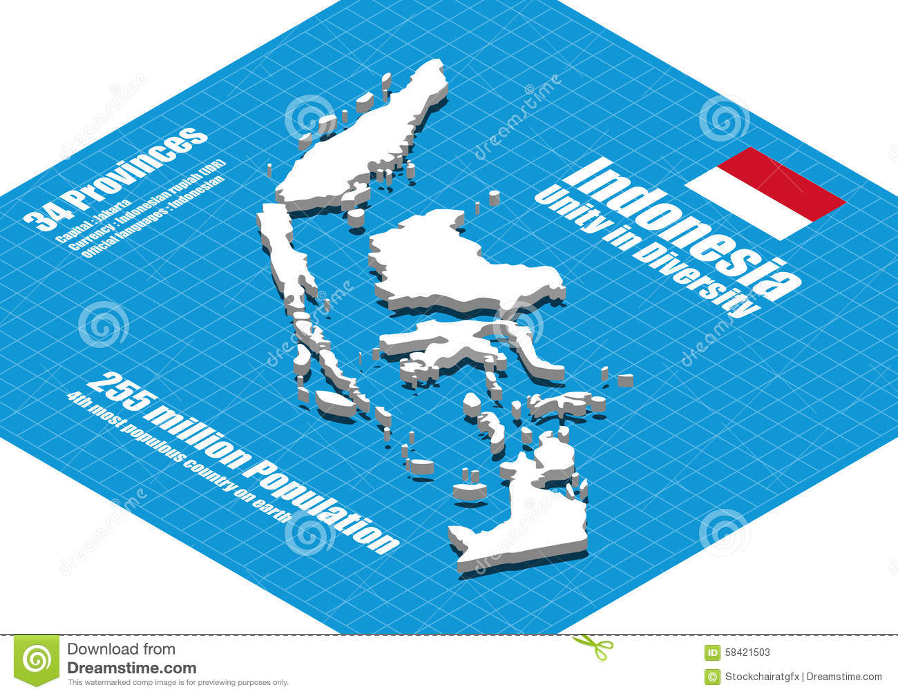 Indonesia Map Vector Illustration 58421503 Megapixl