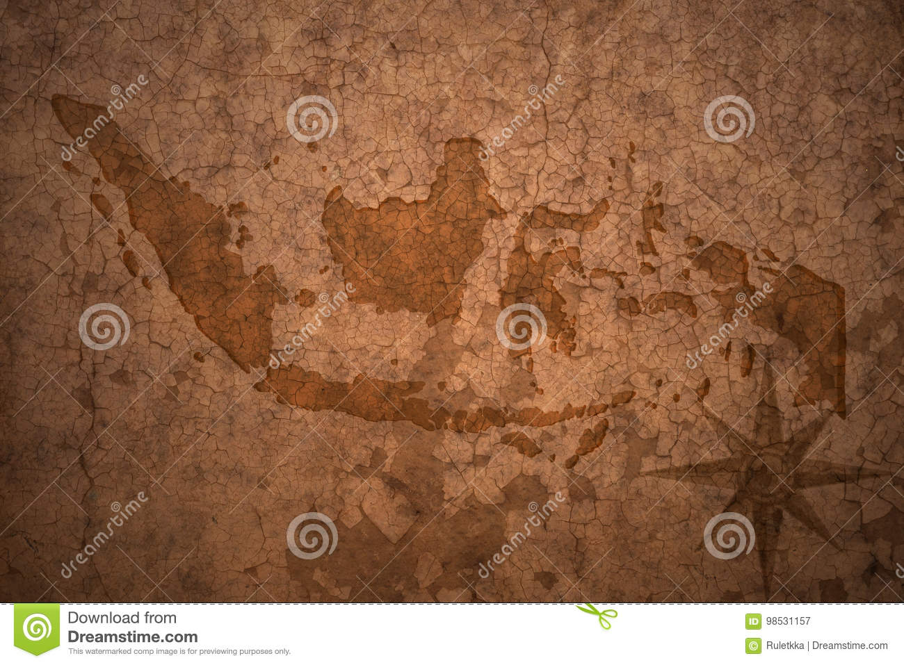 Indonesia map on vintage paper background
