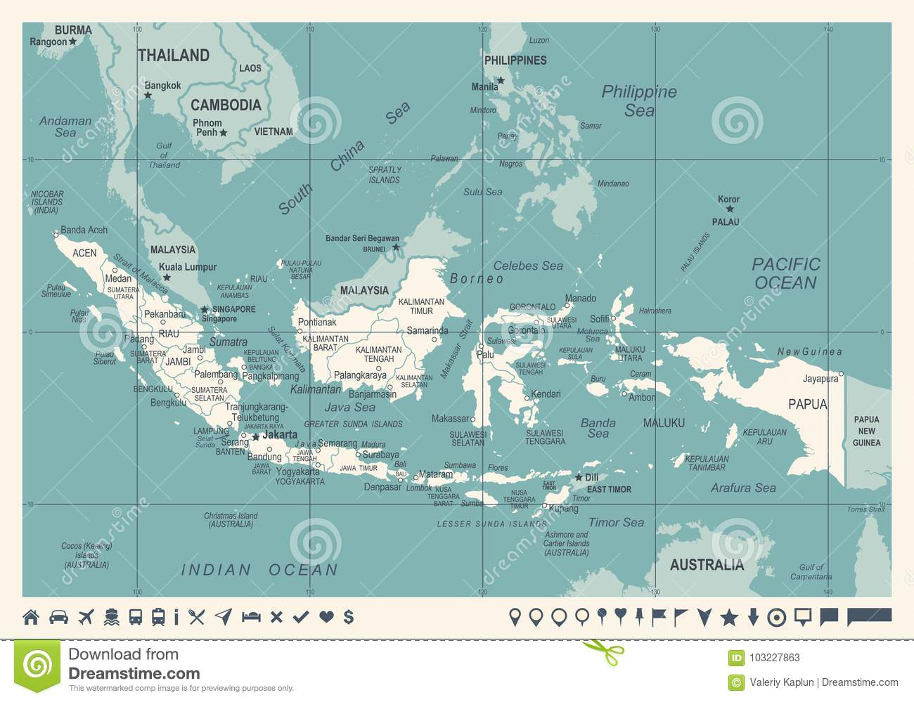 Indonesia map vintage vector illustration stock illustration indonesia map vintage vector illustration medan indonesian publicscrutiny Image collections