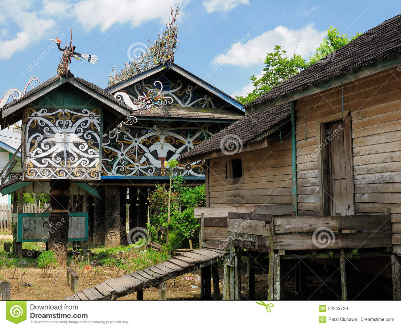 Indonesia traditional dayak tribal culture royalty free for Tribal house