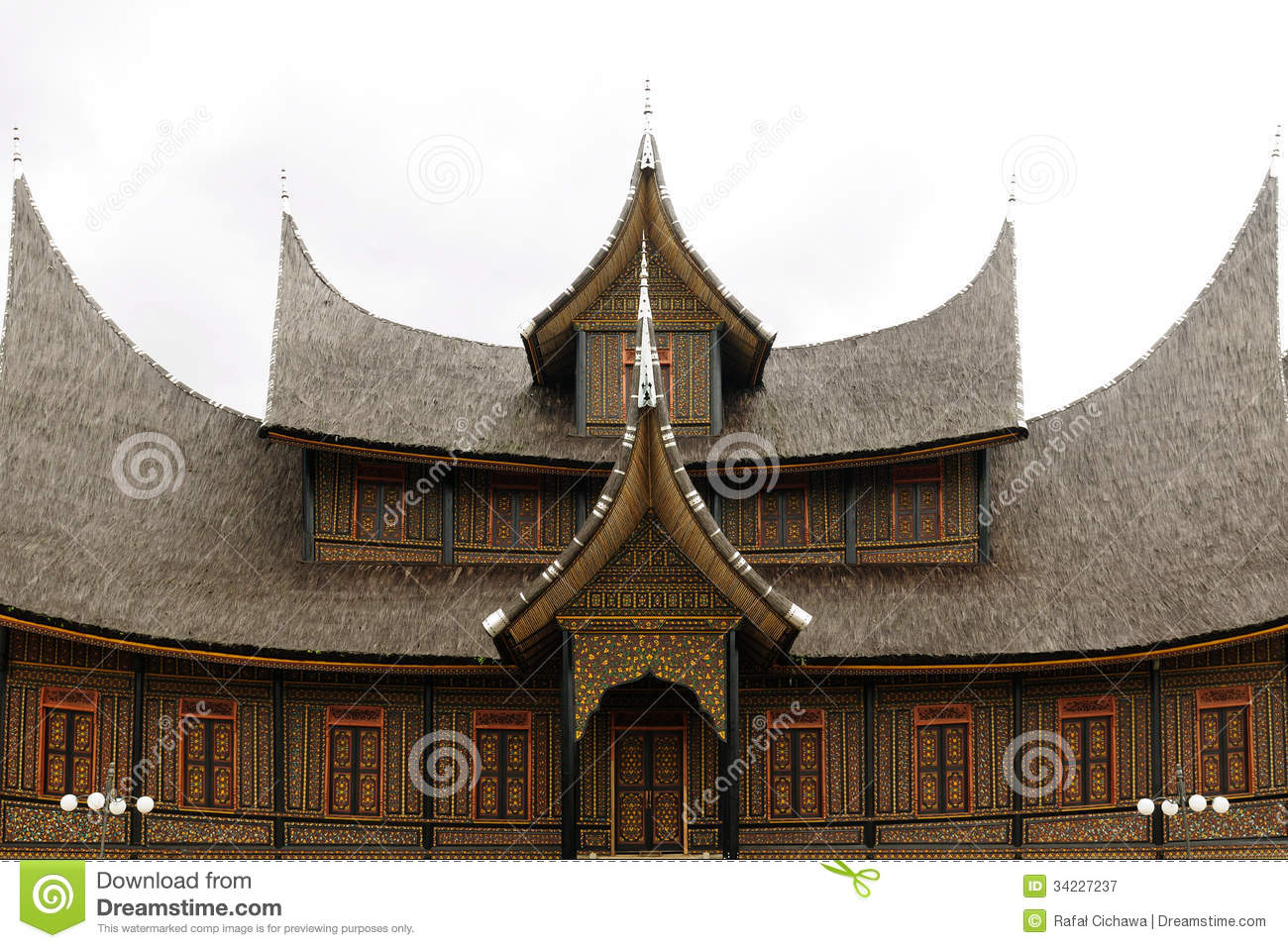 Indonesia Traditional House On The West Sumatra Island Royalty Free ...