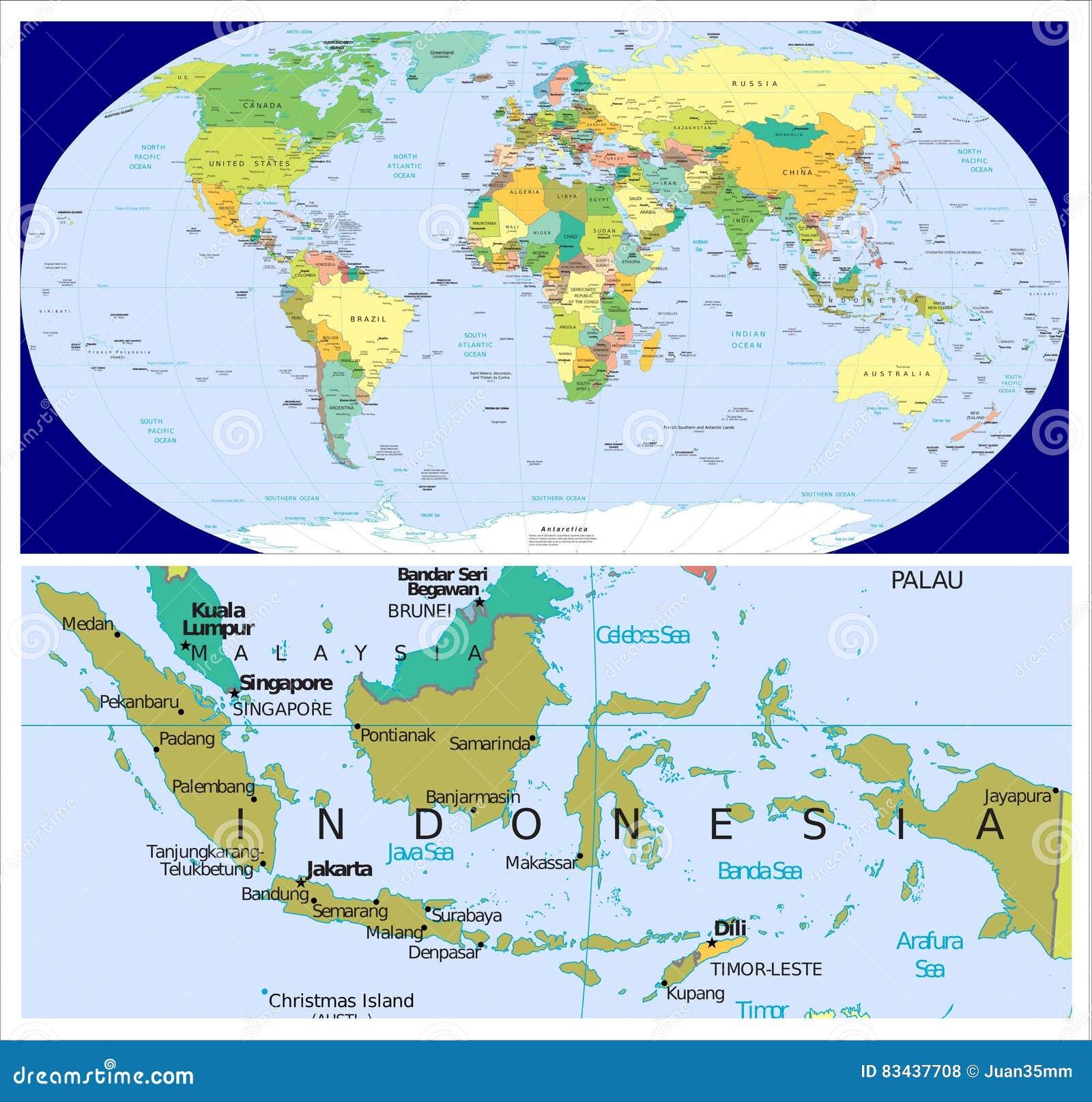 Indonesia & World stock illustration. Illustration of guiana ...