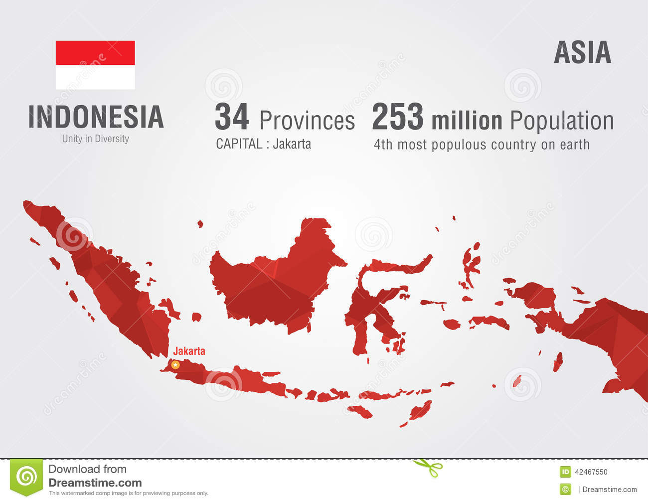 Indonesia World Map With A Pixel Diamond Texture. Stock Vector ...