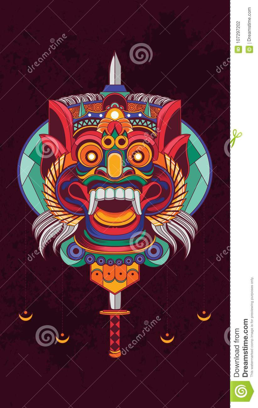 Indonesian Barong Culture Poster Royalty Free Vector Indonesian