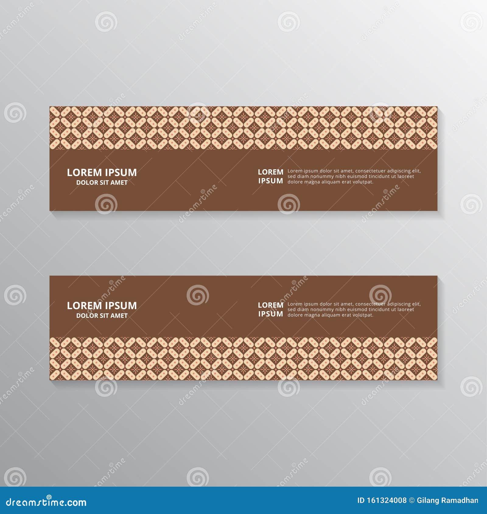 Indonesian Batik Banner Template, Web Header, Footer