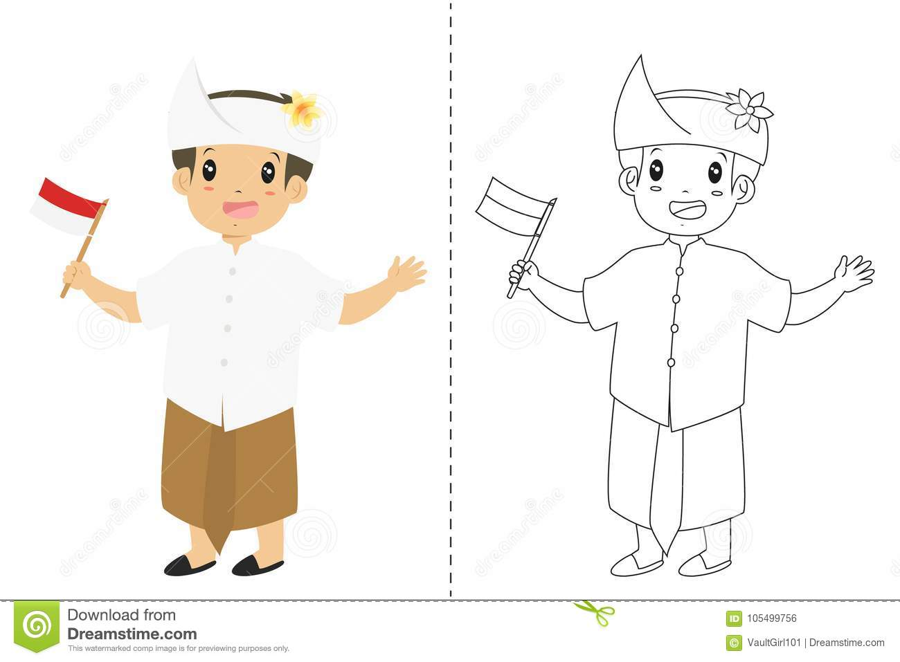 Download Indonesian Boy Wearing Bali Traditional Dress Outline Cartoon Vector For Coloring Page Stock