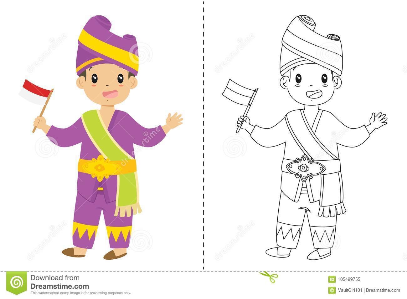92 Indonesia Flag Coloring Page Indonesian Boy Wearing