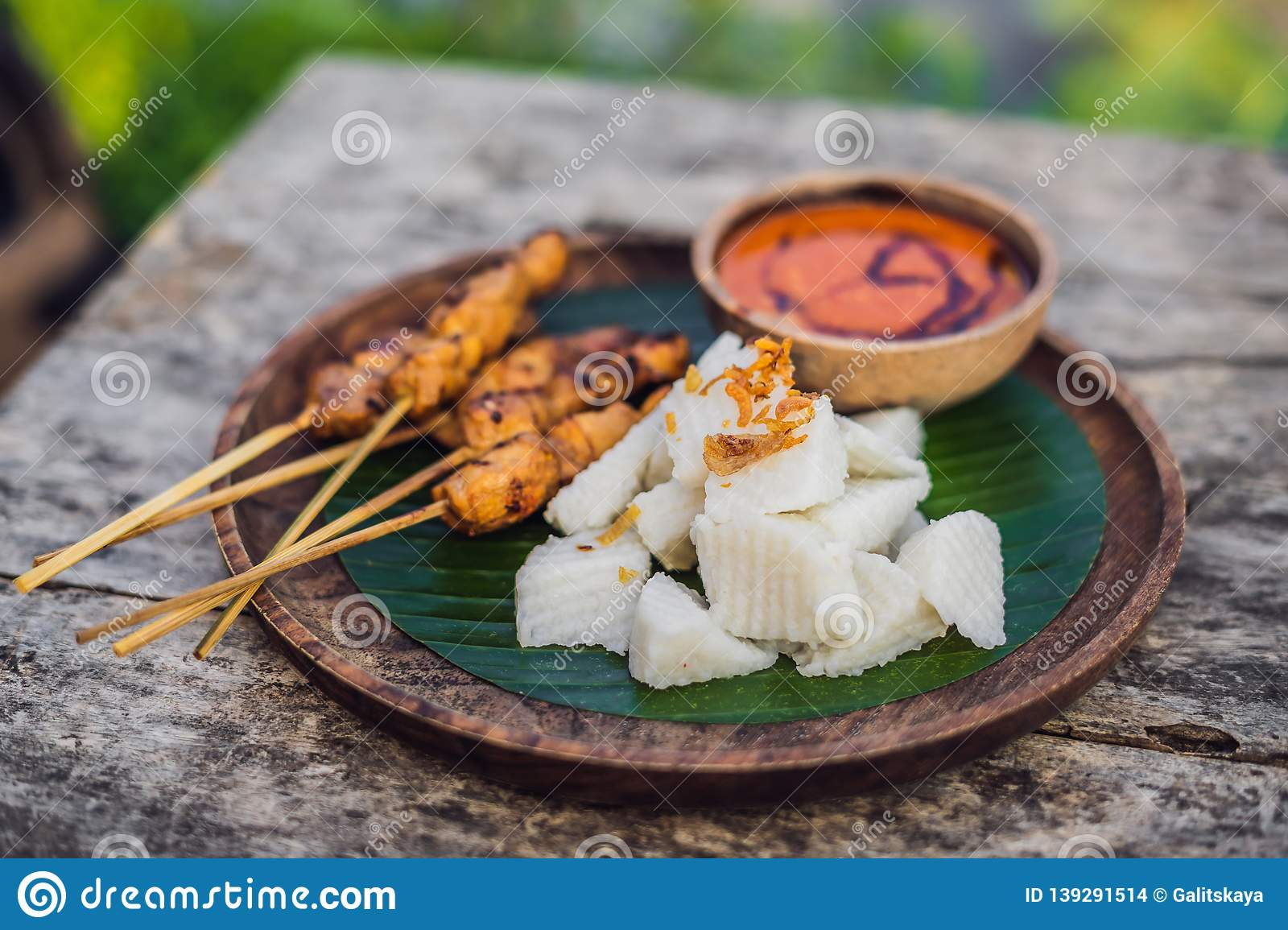 Indonesian Chicken Satay Or Sate Ayam Served With Lontong Soy Sauce And Peanut Sauce Lifestyle Food Stock Photo Image Of Celebrations Grilled 139291514