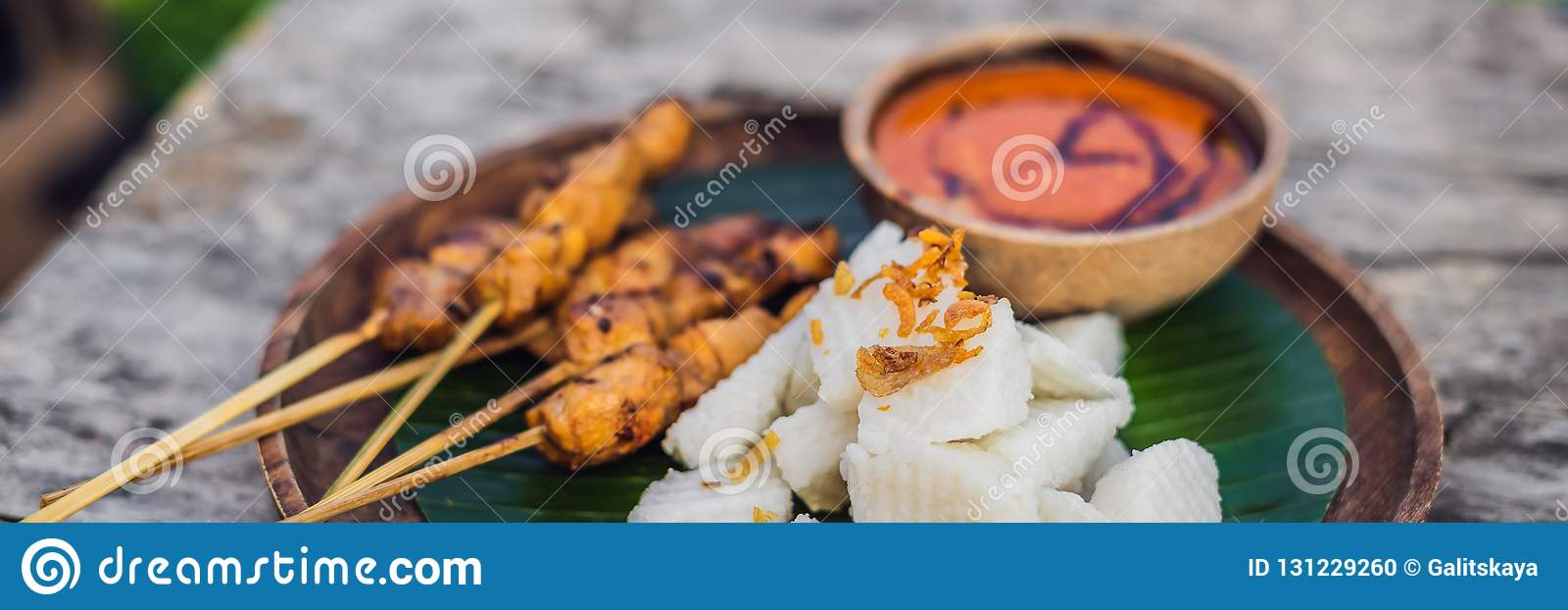 Indonesian Chicken Satay Or Sate Ayam Served With Lontong Soy Sauce And Peanut Sauce Lifestyle Food Banner Long Format Stock Photo Image Of Java Hari 131229260