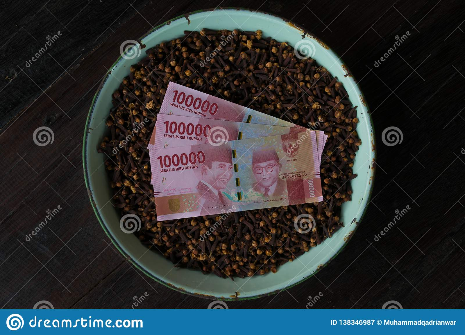 Indonesian Currency with clove