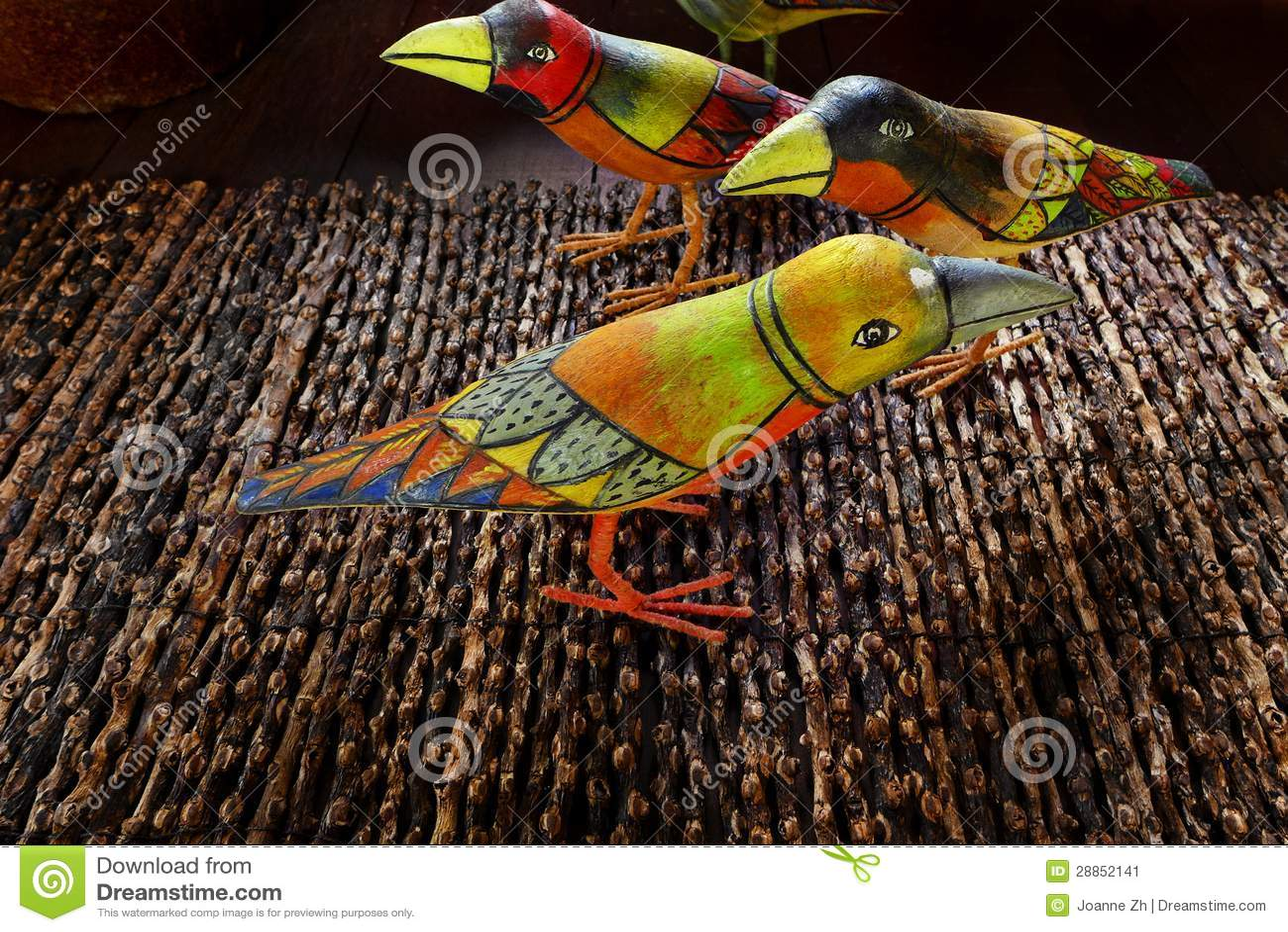 Indonesian Ethnic Art - Painted Wooden Birds Stock Image ...