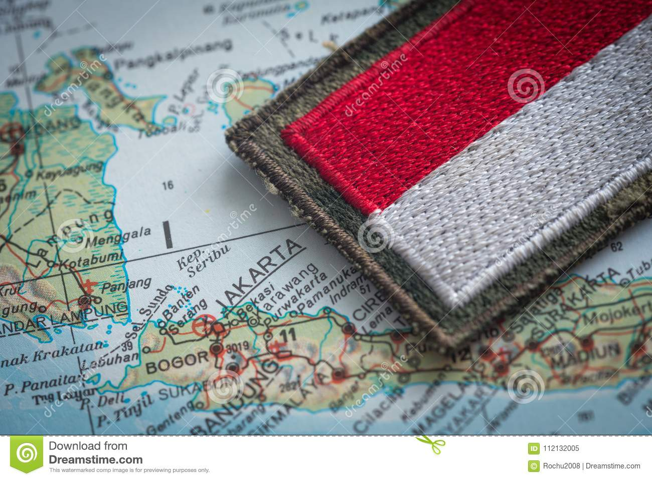 Indonesian flag on the background of the indonesia map