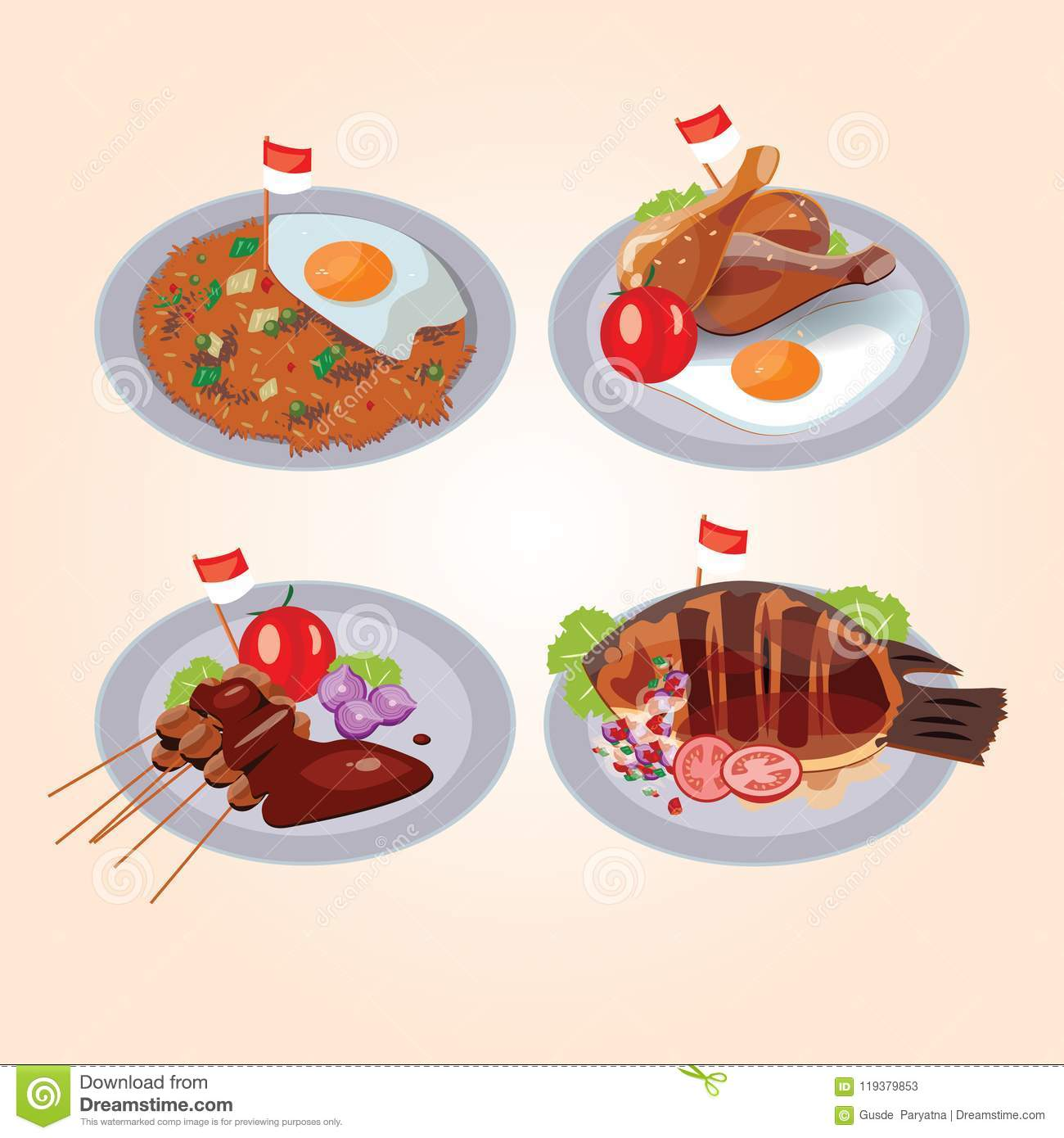 Indonesian Food Package Stock Vector Illustration Of Ayam 119379853