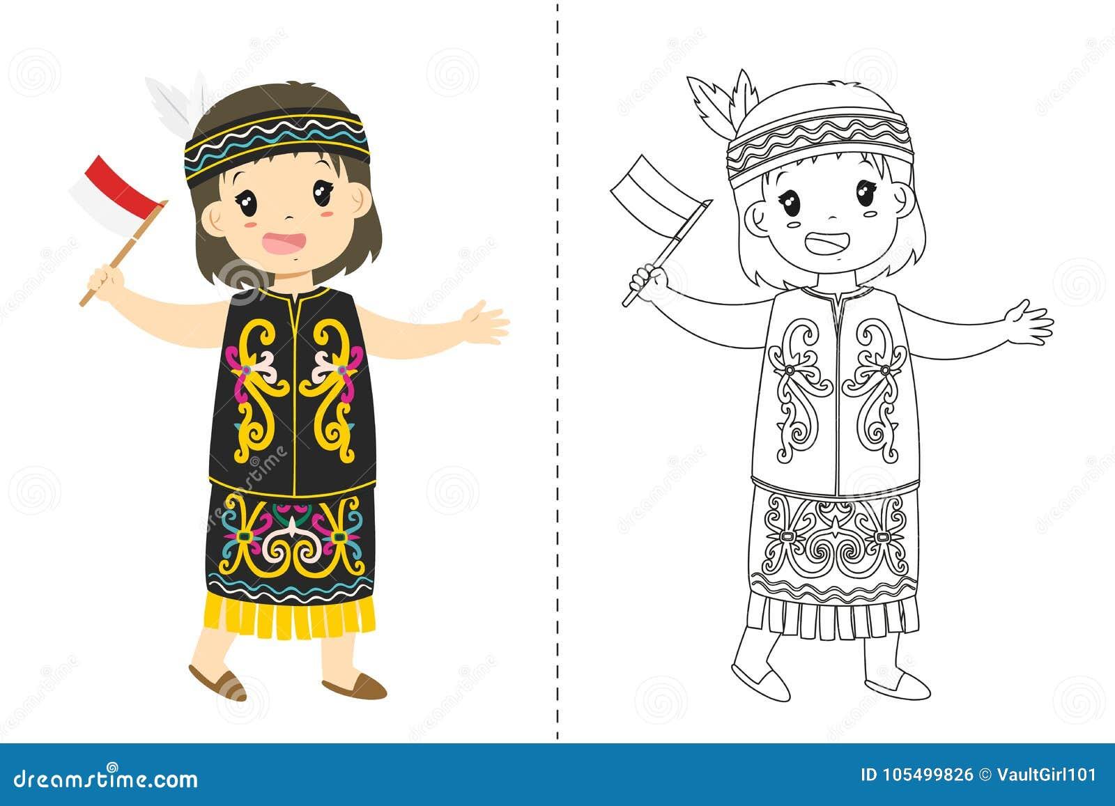 Indonesian Girl Wearing Dayak Traditional Dress Outline Cartoon