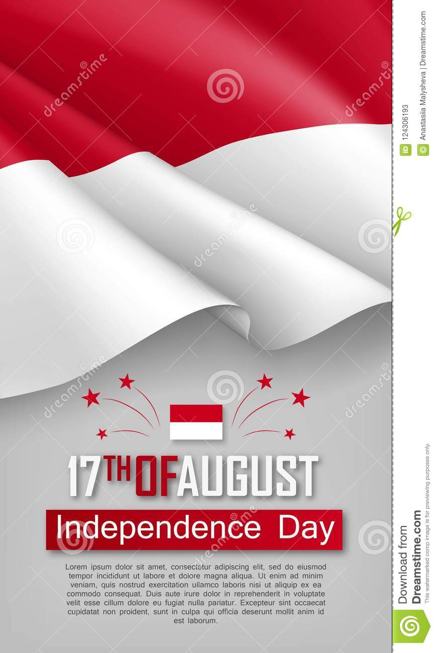 indonesian independence day vertical flyer stock vector