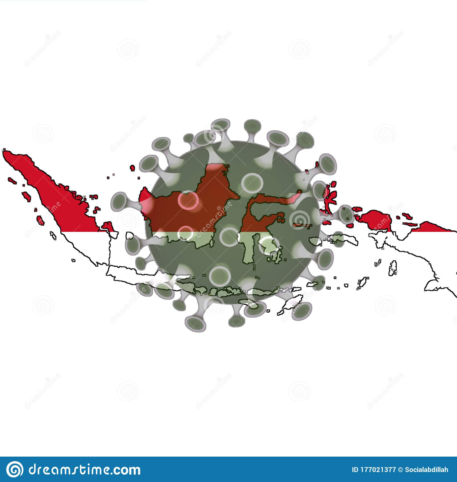 Indonesian Map Fought By Corona Stock Illustration Illustration Of Isolated Infection 177021377