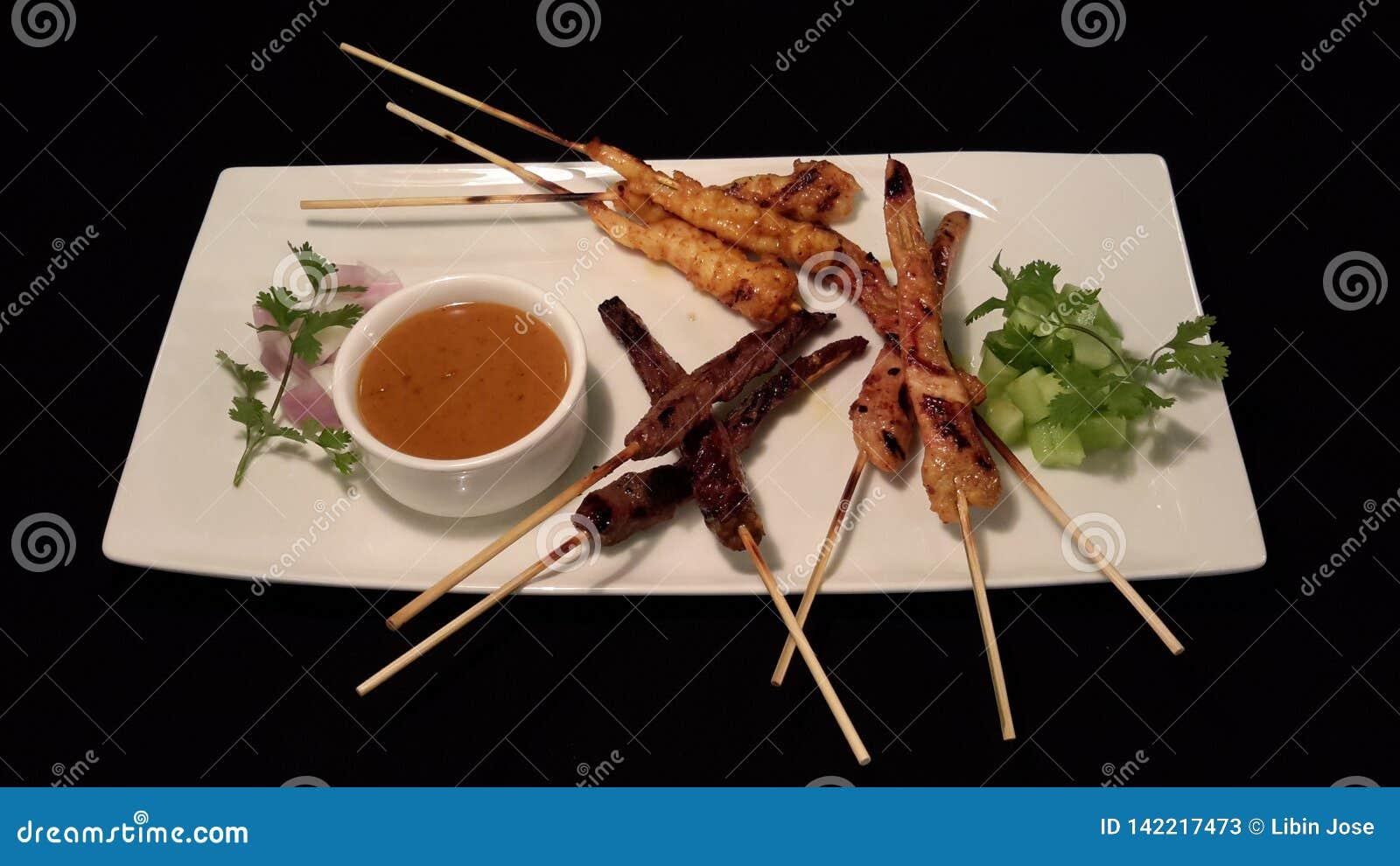 Indonesian satay skewer with dip
