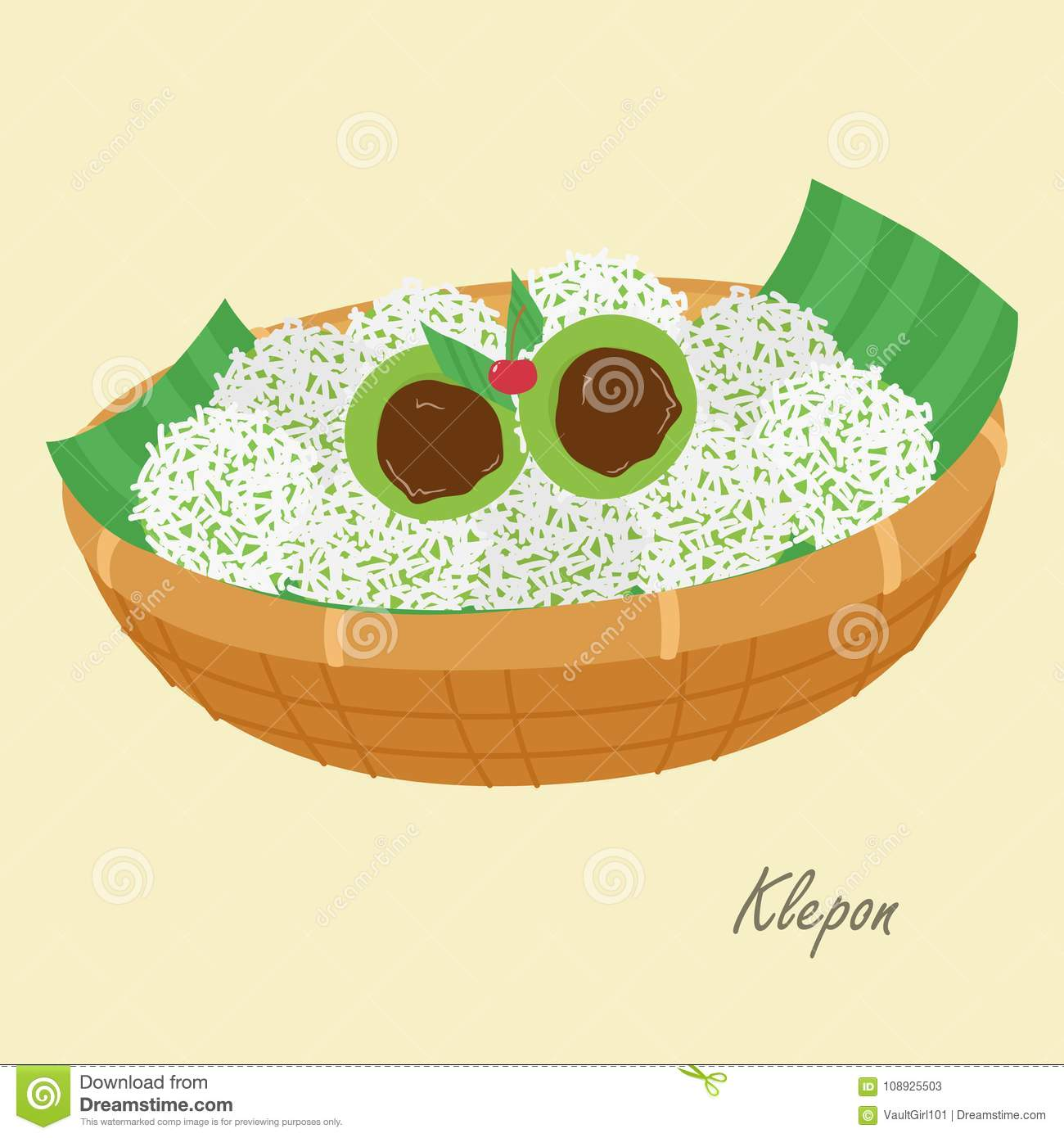 Indonesian Traditional Cake Klepon Cartoon Vector Royalty Free