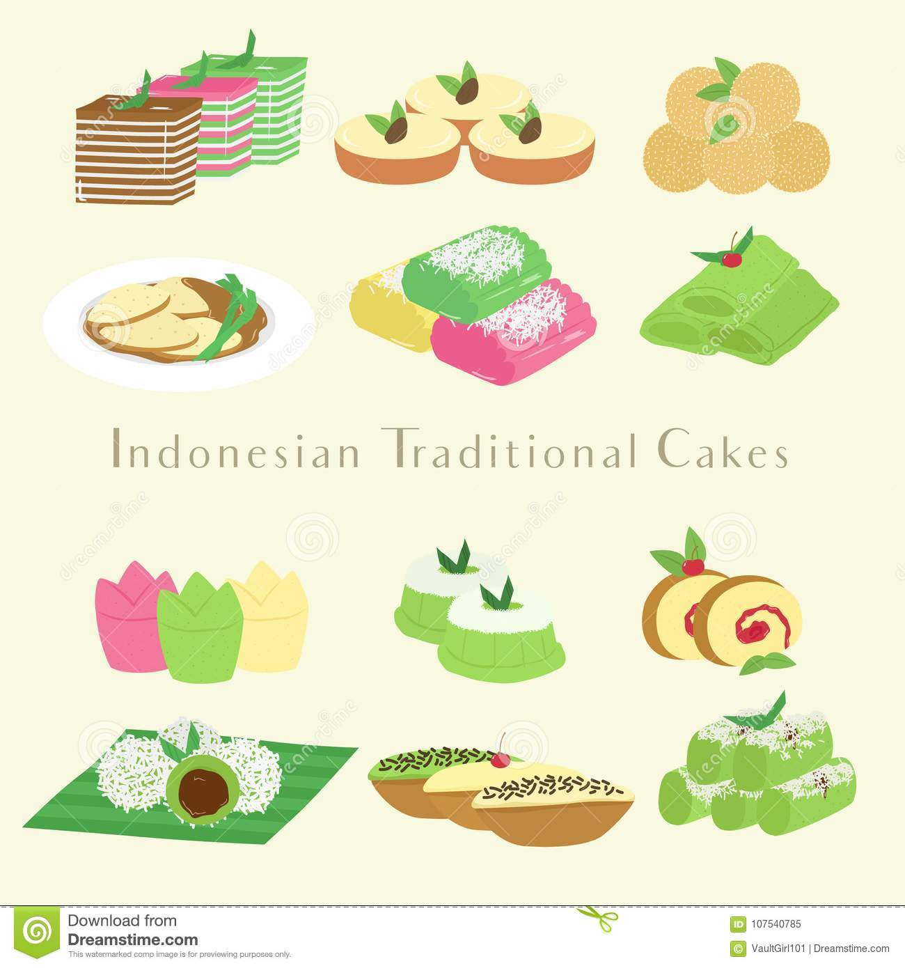 Indonesian Traditional Cakes And Snacks Cartoon Vector