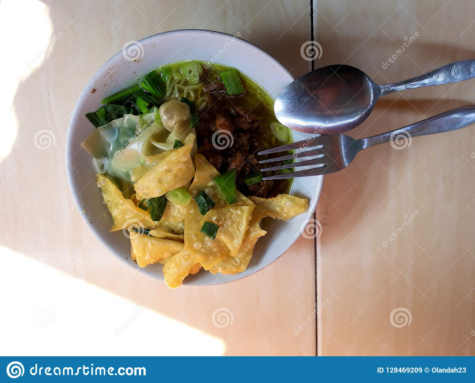 Indonesian traditional food. Mie Ayam is a traditional street food